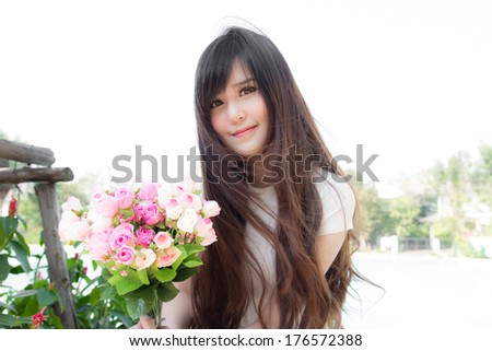 Asian beauty face closeup portrait - stock photo