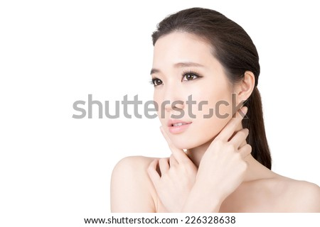 Asian beauty face closeup portrait with clean and fresh elegant lady. - stock photo