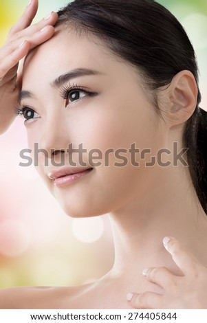 Asian beauty face, closeup portrait with clean and fresh elegant lady. - stock photo