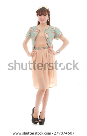 Asian beauty full length portrait isolated on white background.