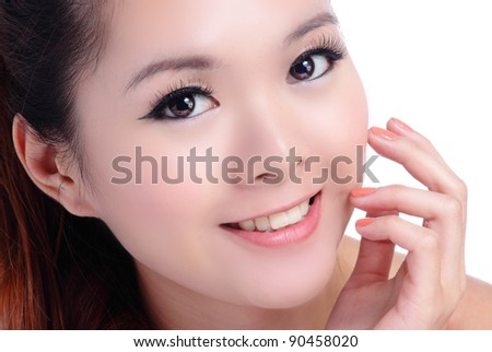 Asian beauty skin care woman smiling close-up, Beautiful young woman touching her face looking to the side. Isolated on white background - stock photo