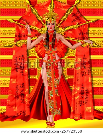 Asian beauty with red and gold fantasy outfit and background. Her beautiful cosmetics and fantastic dress make a statement of elegance, power and seduction. - stock photo