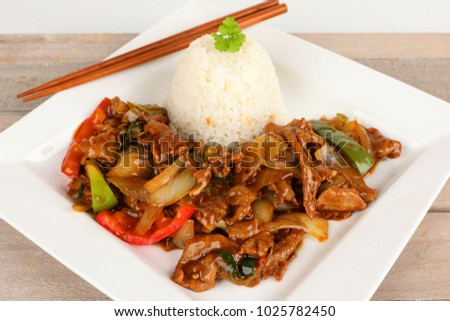 asian beef with onions and peppers
