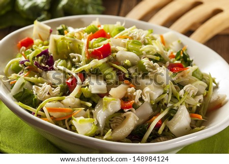 Asian Bok Choy and Ramen Salad in a Bowl