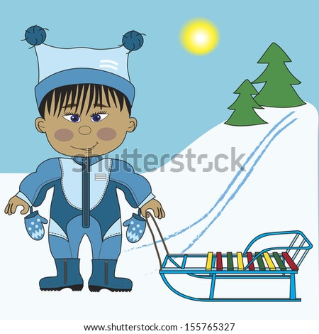 Asian boy and sleigh