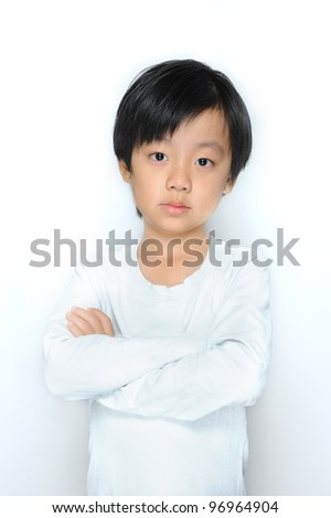 Asian boy crying ( showing pain) - stock photo