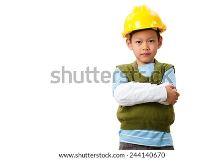 asian boy engineer concept,isolate on white clipping path - stock photo