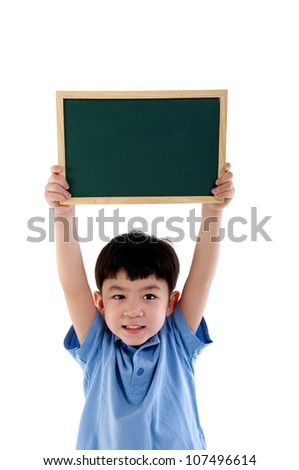 asian boy holding a chalkboard - stock photo