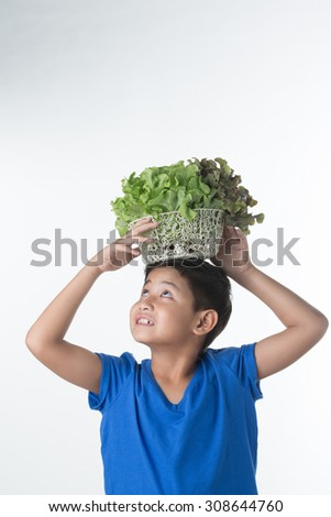 Asian boy Holding vegetables on his head - stock photo