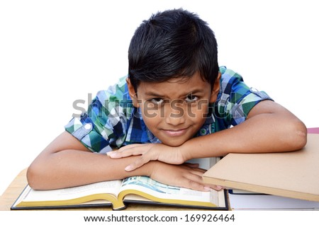 Asian boy in the classroom isolated on white background with clipping path. - stock photo