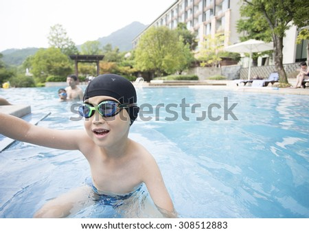 Asian boy Practice Swimming