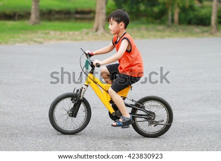 Asian boy riding bicycle in the park