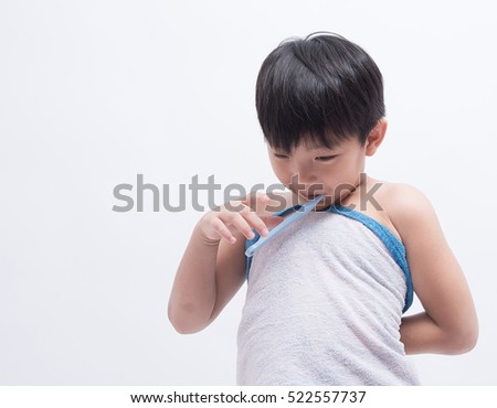 asian boy teet brush moring people bathroom towel awake