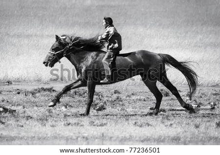 Asian boy very quickly goes on horseback across the steppe - stock photo