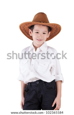 Asian Boy wearing a Cowboy hat isolated on white background - stock photo