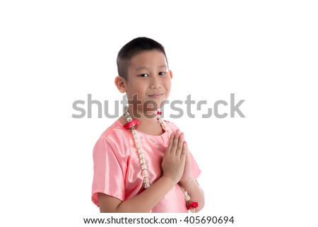 Asian boy welcome expression Sawasdee on white background