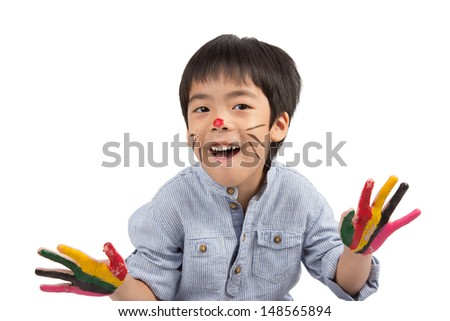 asian boy with colorful painting isolated on white background - stock photo
