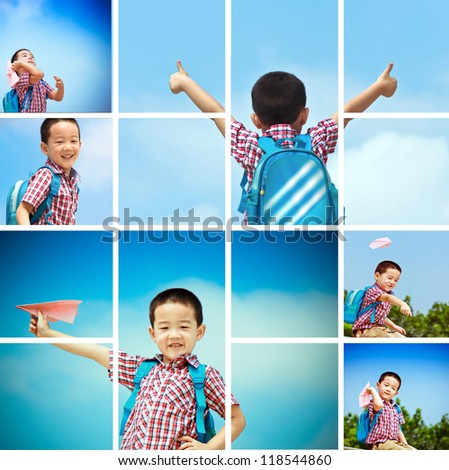 Asian Boy 5 years old, under the blue sky happily playing with paper plane, - stock photo