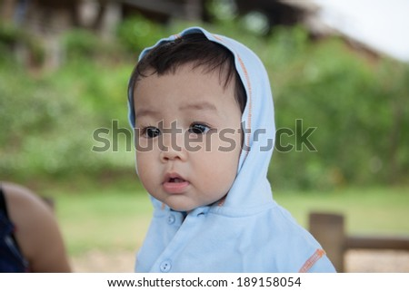 Asian boys 1 year old, happy. - stock photo
