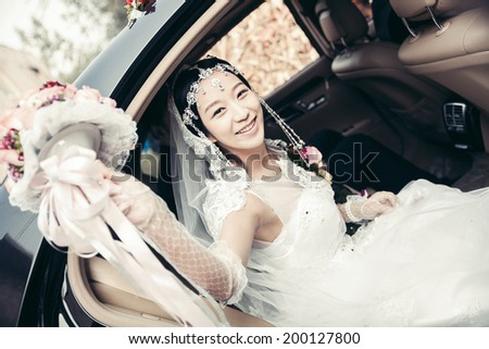 Asian bride, a China bride, waiting for the wedding - stock photo