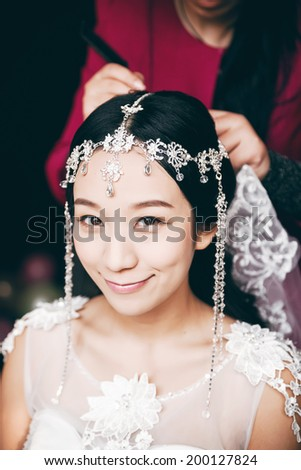 Asian bride, a China bride, waiting for the wedding