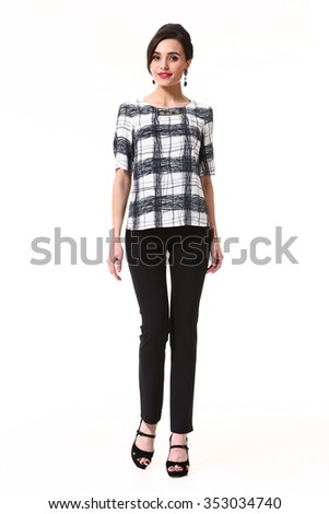 asian brunette skinny fashion model in black trousers and blouse suit full body portrait isolated on white - stock photo