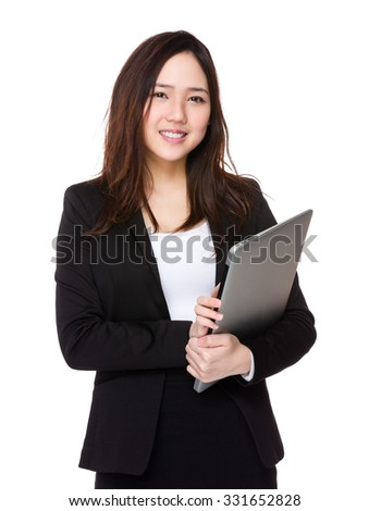 Asian Buisnesswoman hold with notebook computer