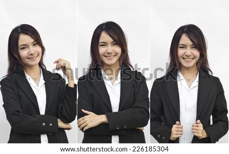 Asian busines woman collage - stock photo
