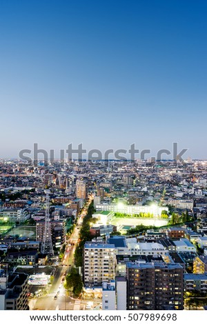 Asian Business concept for real estate and corporate construction - panoramic modern cityscape building bird eye aerial night view under neon light and beautiful dark blue sky in Tokyo, Japan