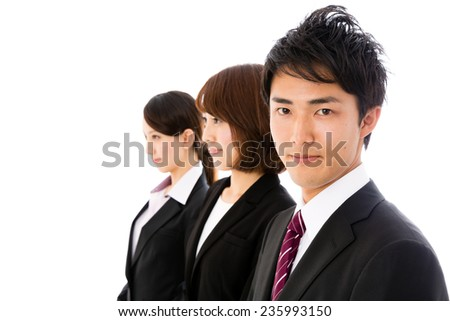 asian business group standing on white background - stock photo