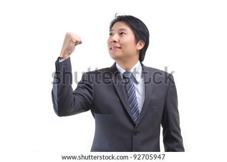 Asian business man confidence isolated on white - stock photo