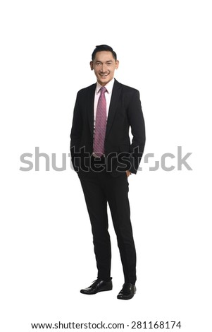Asian business man isolated over white background - stock photo