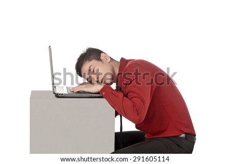 Asian business man sleeping working with laptop isolated over white background - stock photo
