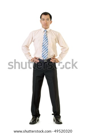 Asian business man standing, isolated on white background. - stock photo