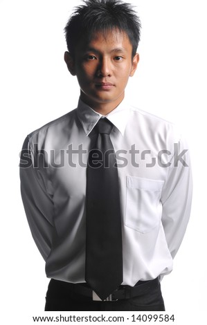 asian business man standing upright