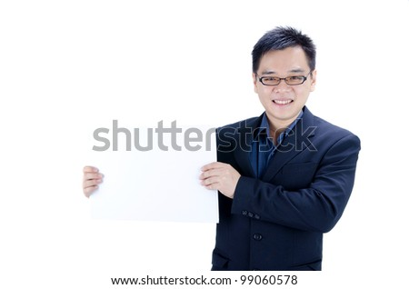 asian business man with blank cardboard - stock photo