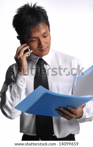 asian business man with file and handphone