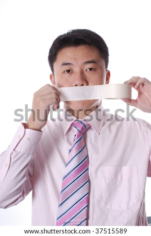 Asian business man with mouth  sealed by adhesive Tape - stock photo