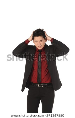 Asian business man with shocking face isolated over white background