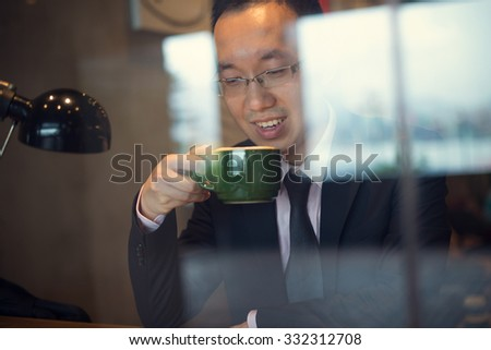 asian business people on coffee - stock photo