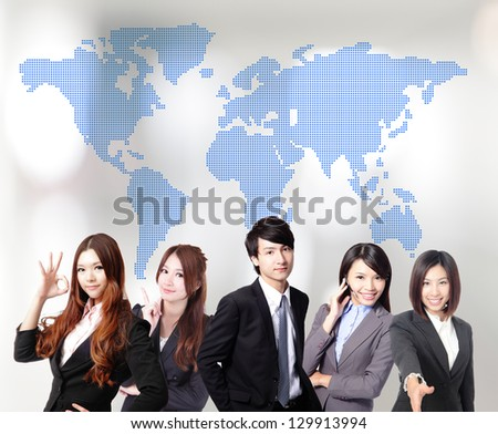 Asian business people teamwork together with global map - stock photo