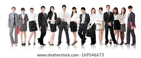 Asian business team, businesswomen and businessmen in group standing and looking at you, isolated on white background.