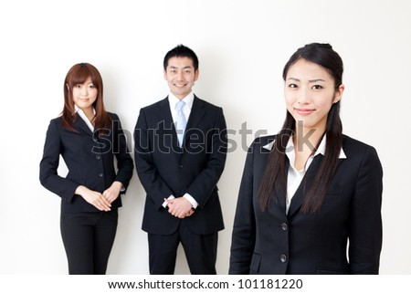 asian business team isolated on white background - stock photo