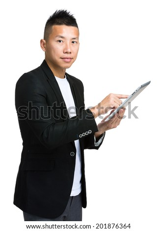 Asian business use digital tablet