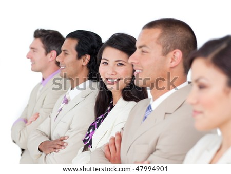 Asian business woman and her team lining up against a white background - stock photo