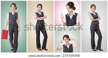 Asian business woman collection with colorful background. - stock photo