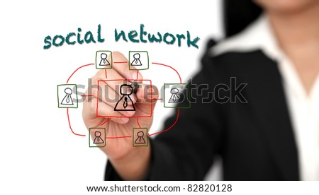 Asian business woman drawing Social Network Concept - stock photo
