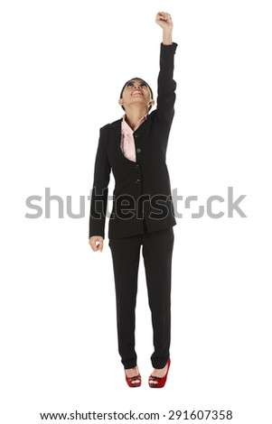 Asian business woman flying isolated over white background - stock photo