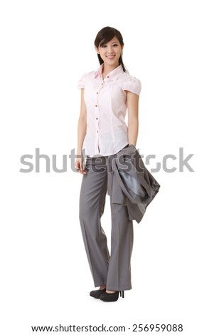 Asian business woman, full length portrait.