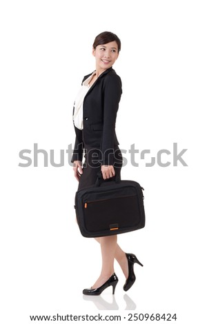 Asian business woman, full length portrait with reflection on studio white background. - stock photo